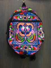 Thai Hill Tribe Embroidered Backpack in Purple