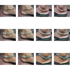 Wholesale set of 10 Thai Stone Adjustable Anklets