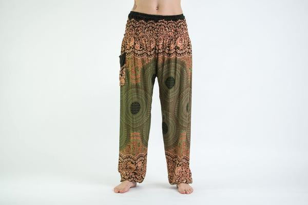 Geometric Mandalas Harem Pants in Olive