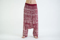 Tribal Prints Low Cut Harem Pants in Red