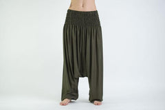 Solid Color Low Cut Harem Pants in Green