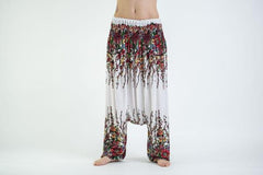 Floral Low-Cut Harem Pants in White