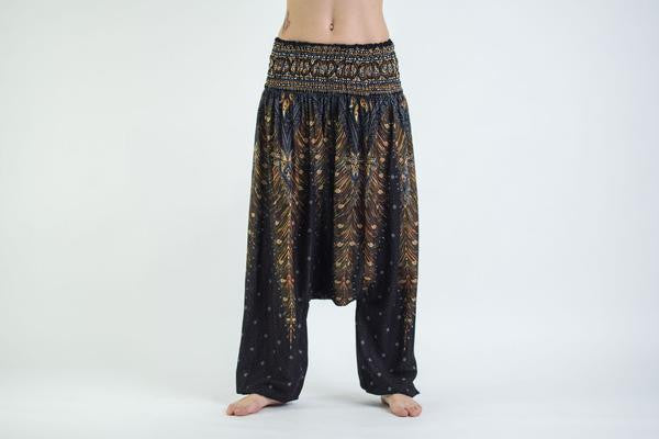 Peacock Feathers Low Cut Harem Pants in Black