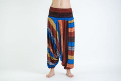 Boho Rust Striped Low-Cut Harem Pants