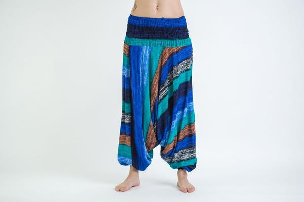 Boho Turquoise Striped Low-Cut Harem Pants