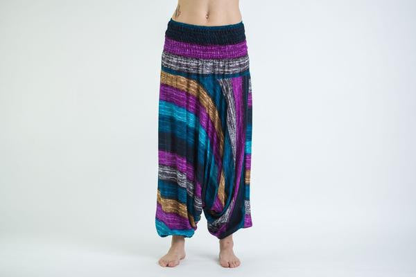 Boho Blue Striped Low-Cut Harem Pants
