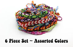 Assorted 6 Piece Set Friendship Hand Made Cotton Woven String Bracelet