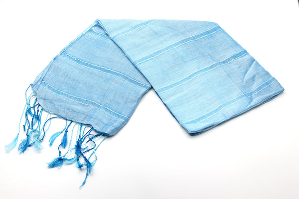 100% Fair Trade Thai Ribbon Style Scarf Shawl Light Blue