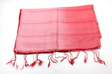 100% Fair Trade Thai Ribbon Style Scarf Shawl Red