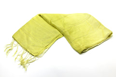 100% Fair Trade Thai Ribbon Style Scarf Shawl Lime