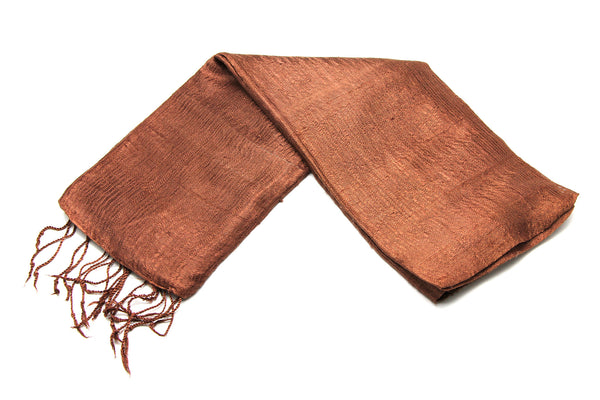 100% Fair Trade Thai Silk Solid Color Scarf Brown