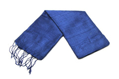 100% Fair Trade Thai Silk Solid Color Scarf Blue