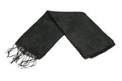 100% Fair Trade Thai Silk Solid Color Scarf Black