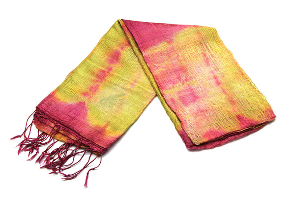 100% SILK Fair Trade Thai Tie Dye Scarf Shawl
