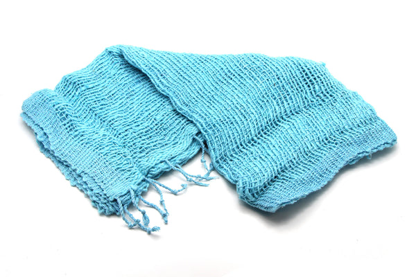 100% Organic Cotton Scarf Shawl From Thailand Blue