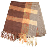 Fair Trade Hand Made Nepal Pashmina Scarf Shawl Brown Gray