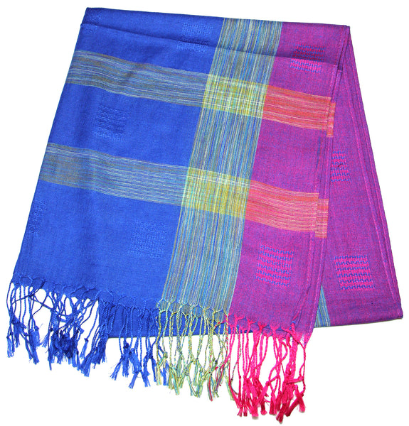 Fair Trade Hand Made Nepal Pashmina Scarf Shawl Blue Purple