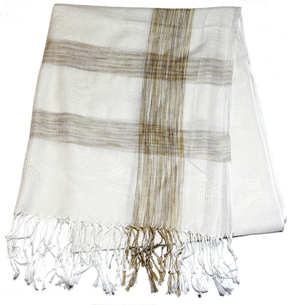 Fair Trade Hand Made Nepal Pashmina Scarf Shawl Plaid Brown White