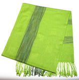 Fair Trade Hand Made Nepal Pashmina Scarf Shawl Plaid Green