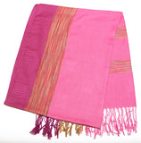Fair Trade Hand Made Nepal Pashmina Scarf Shawl Pink Purple