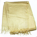 Fair Trade 70% Pashmina(Cashmere) 30% SILK Shawl Gold