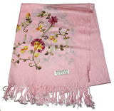Fair Trade Hand Made Nepal Pashmina Scarf Shawl Embroidered Pink