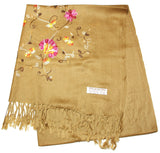 Fair Trade Hand Made Nepal Pashmina Scarf Shawl Embroidered Brown