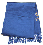 Fair Trade Hand Made Nepal Pashmina Scarf Shawl Embroidered Blue