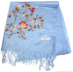 Fair Trade Hand Made Nepal Pashmina Scarf Shawl Embroidered Light Blue