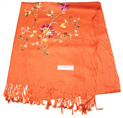 Fair Trade Hand Made Nepal Pashmina Scarf Shawl Embroidered Orange