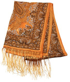 Lovely Hand Made Thai Floral Scarf Shawl Brown