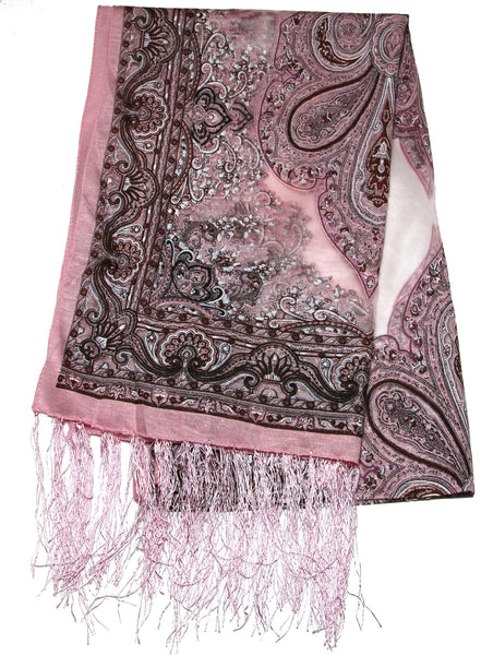 Lovely Hand Made Thai Floral Scarf Shawl Pink