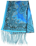 Lovely Hand Made Thai Floral Scarf Shawl Blue