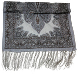 Lovely Hand Made Thai Floral Scarf Shawl Gray
