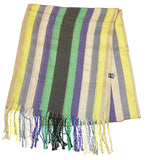 Fair Trade Hand Made Nepal Pashmina Scarf Shawl Striped Yellow Grape