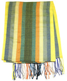 Fair Trade Hand Made Nepal Pashmina Scarf Shawl Striped Yellow Orange