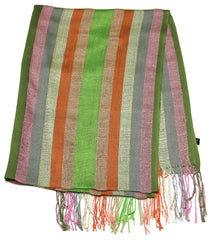 Fair Trade Hand Made Nepal Pashmina Scarf Shawl Striped Pink Green