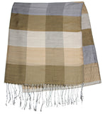 Fair Trade Hand Made Nepal Pashmina Scarf Shawl Striped Brown Gray