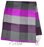 Fair Trade Hand Made Nepal Pashmina Scarf Shawl Striped Grape Purple