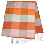 Fair Trade Hand Made Nepal Pashmina Scarf Shawl Striped Brick Orange