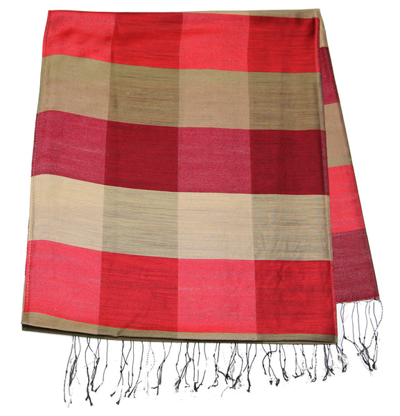 Fair Trade Hand Made Nepal Pashmina Scarf Shawl Striped Red Maroon