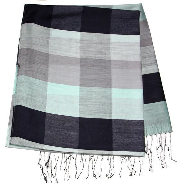 Fair Trade Hand Made Nepal Pashmina Scarf Shawl Striped Black White