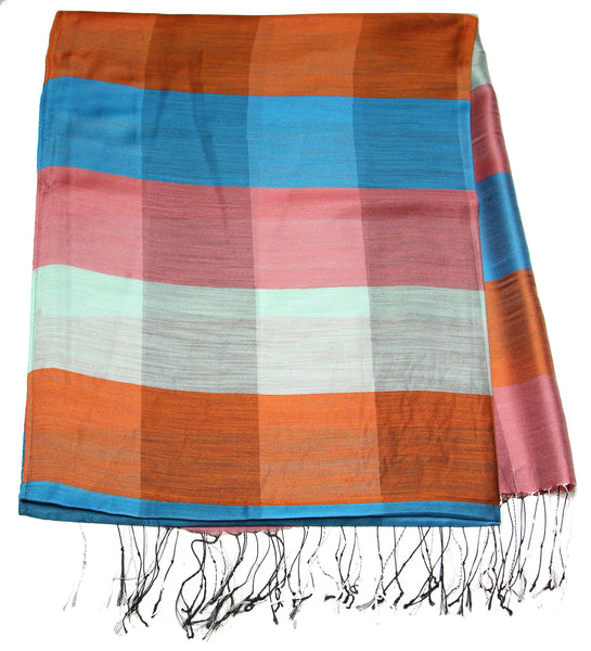 Fair Trade Hand Made Nepal Pashmina Scarf Shawl Striped Blue Orange