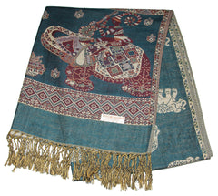 Nepal Hand Made Pashmina Shawl Scarf Dark Teal
