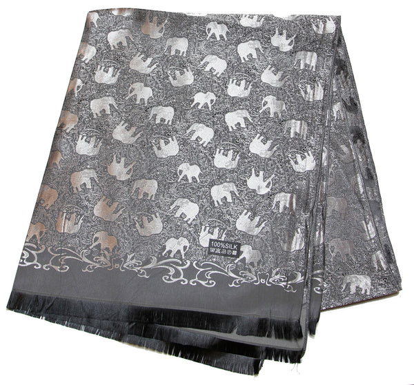 Hand Made Pashmina Shawl Scarf Elephant in Black