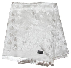 Hand Made Pashmina Shawl Scarf Elephant in White