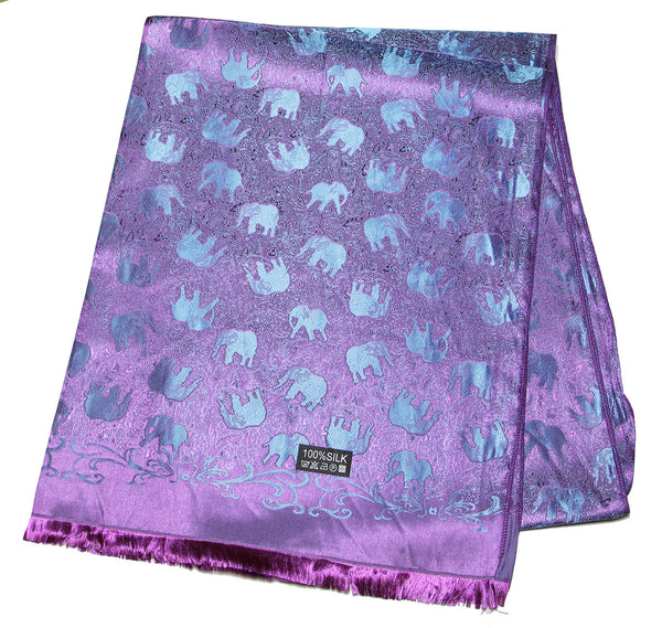 Hand Made Pashmina Shawl Scarf Elephant in Purple