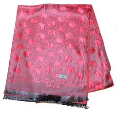 Hand Made Pashmina Shawl Scarf Elephant in Red