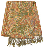 Hand Made Pashmina Shawl Scarf Flower in Sahara Green