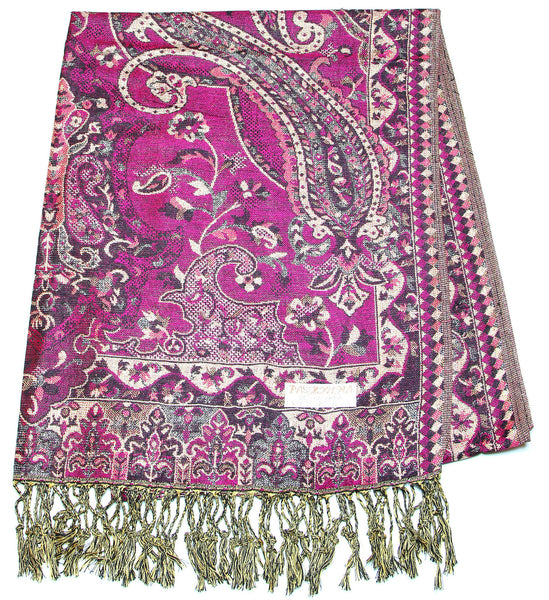 Hand Made Pashmina Shawl Scarf Flower in Purple